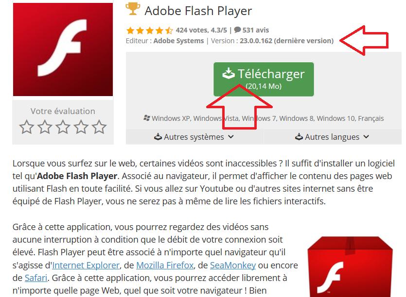 telecharger gratuitement adobe flash player ancienne version